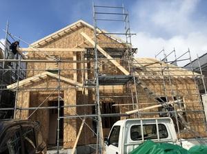 建築中のカナダ輸入住宅 中島町