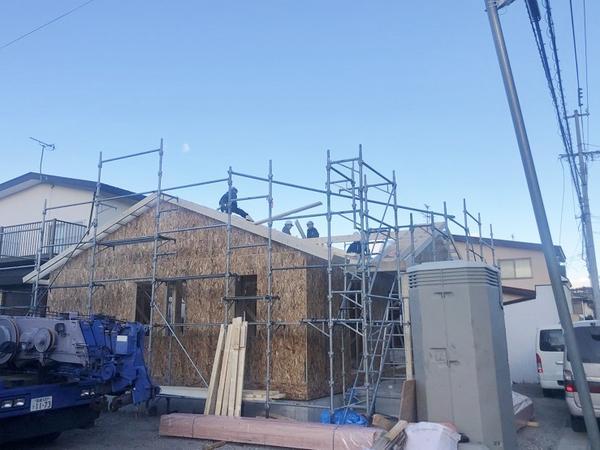 建築中のカナダ輸入住宅 函館市見晴町 平屋のセルコホーム