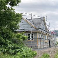 建築中のセルコホーム 厚沢部町 気密施工と換気システム